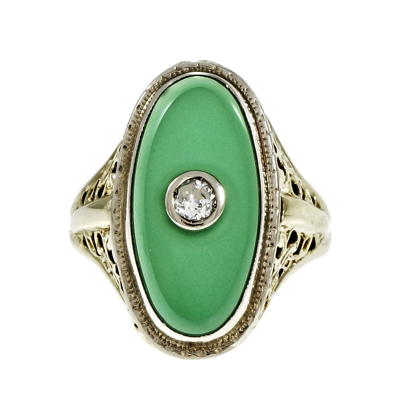"""Image of """"Vintage Art Deco 14K Yellow & White Gold with Filigree Green Onyx &"""""""