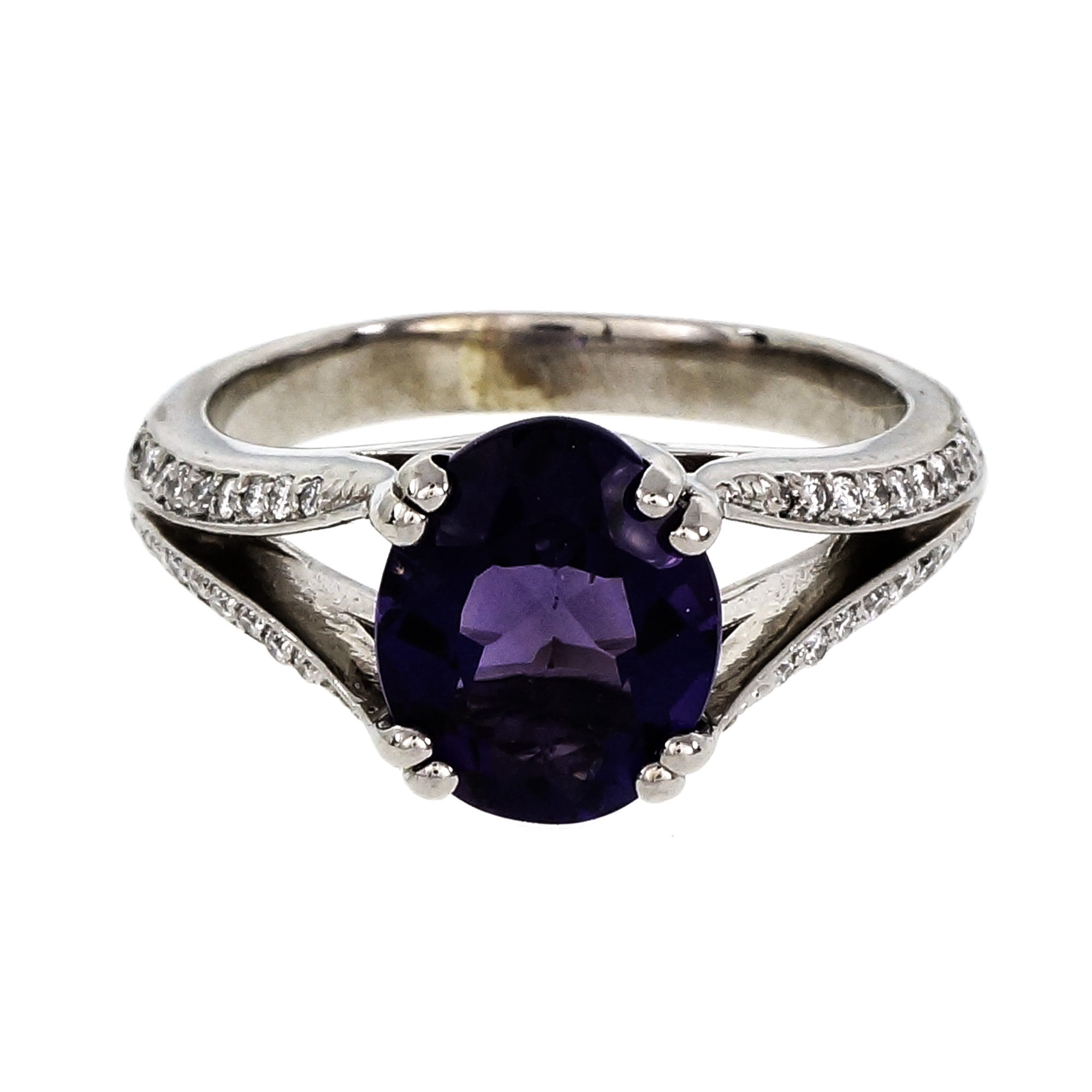 "Image of ""14K White Gold Split Shank Fine 2.00ct Amethyst and Diamond Ring Size"""