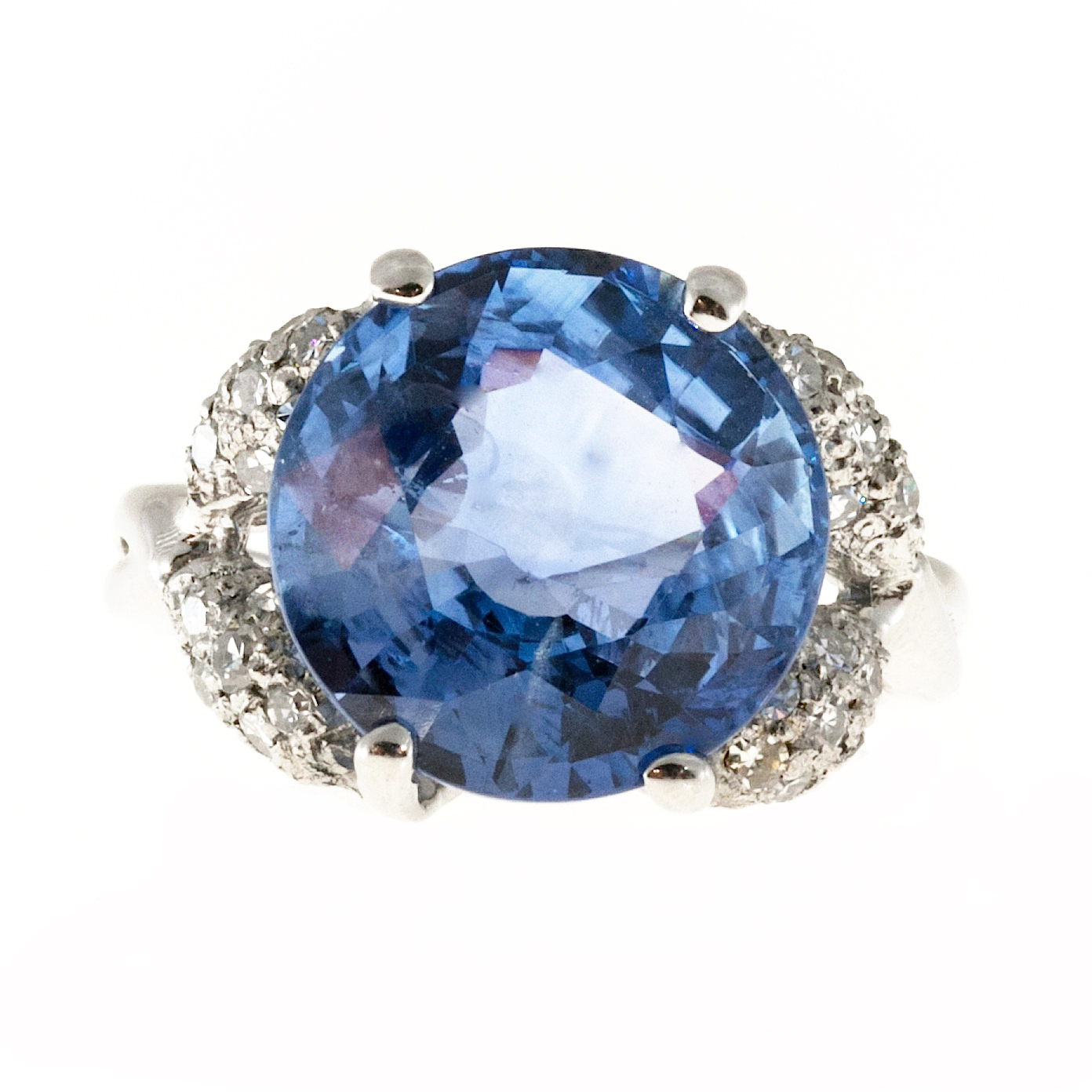 "Image of ""Vintage Platinum with 9.13cts Old Cut Ceylon Sapphire and Pave Round"""