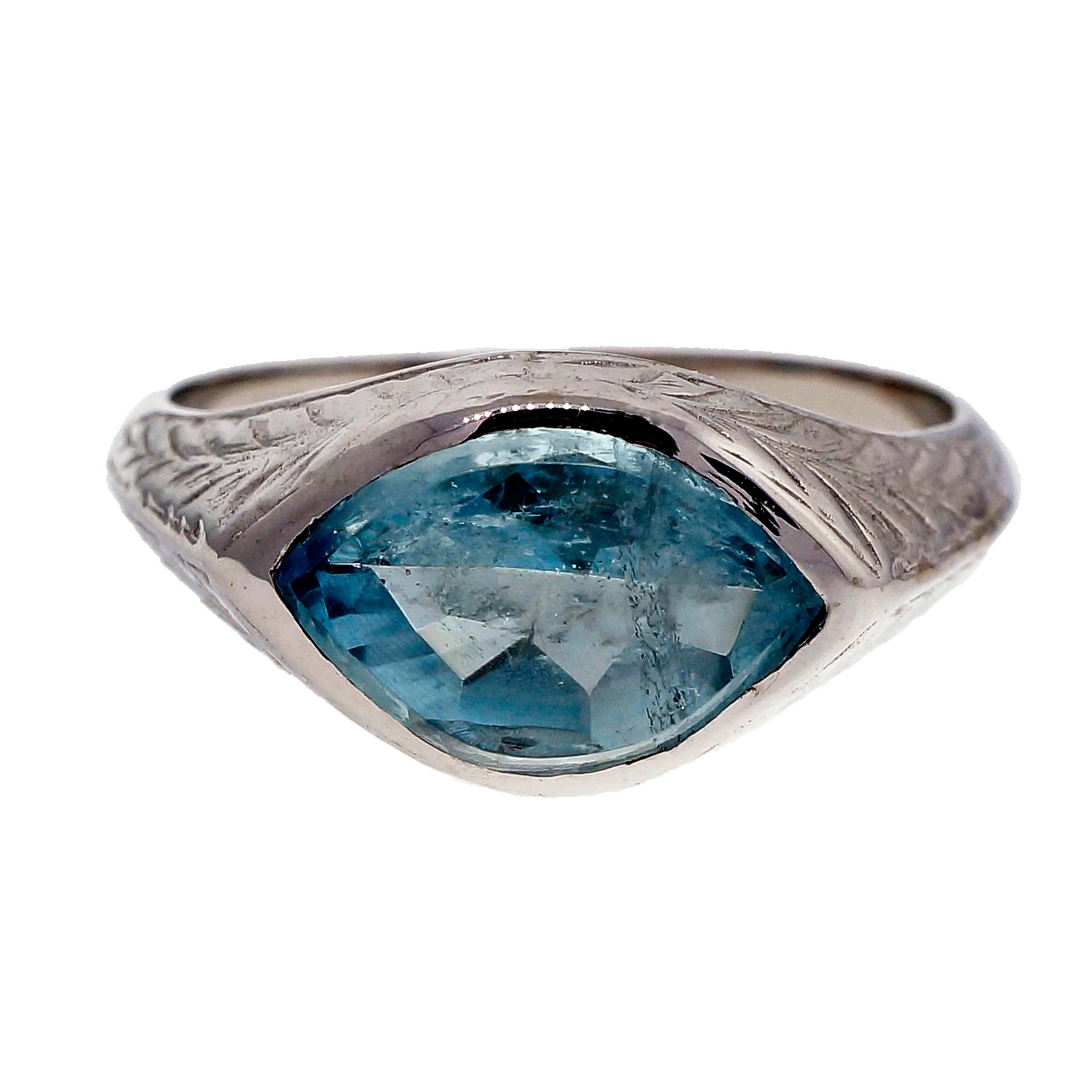 "Image of ""10K White Gold 2.31ct Aquamarine Men's Ring Size 8.5"""