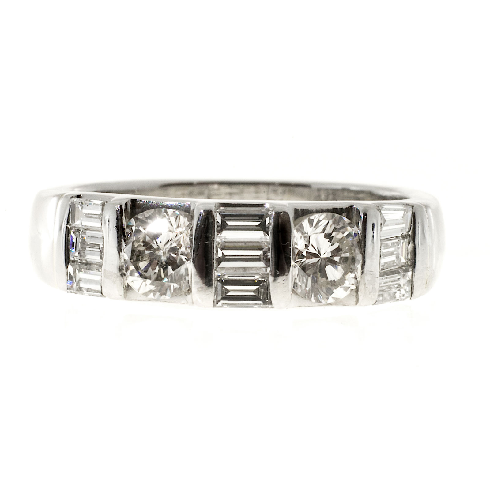 "Image of ""Vintage Platinum with 1.00ct Baguette & Round Diamond Band Bar Ring"""