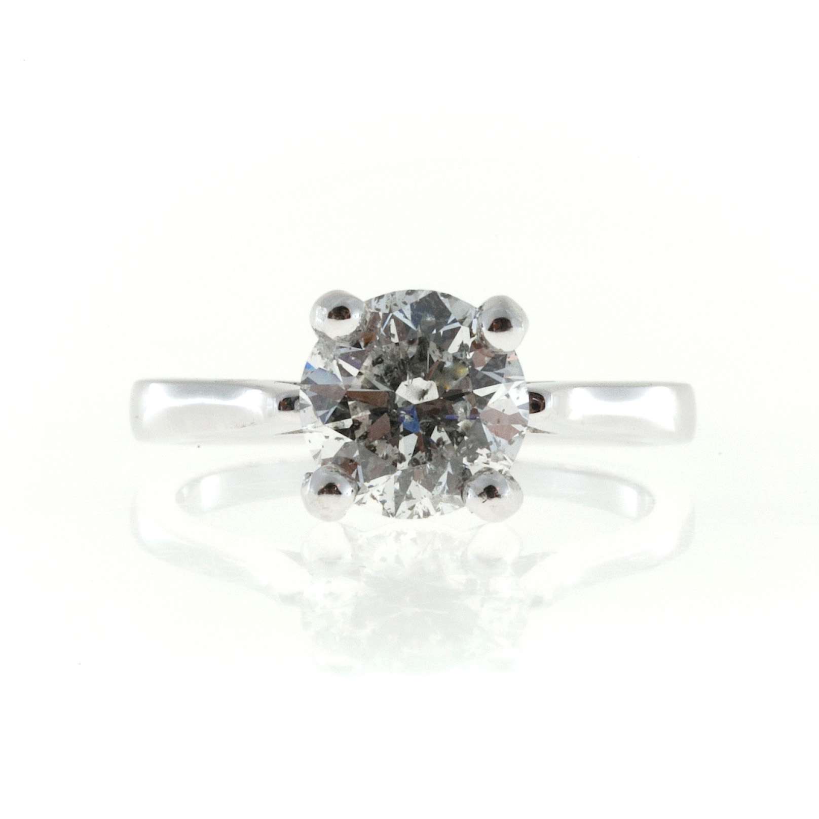 "Image of ""Vintage 14K White Gold 1.91ct Round Diamond Ring Size 6.5"""