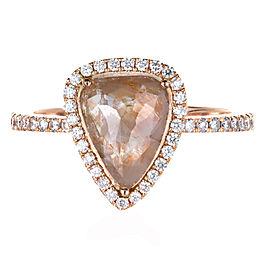 14K Pink Gold 1.60ct Diamond Ring Size 6.75
