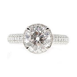 Peter Suchy 950 Platinum Halo Diamond Ring Size 6.75