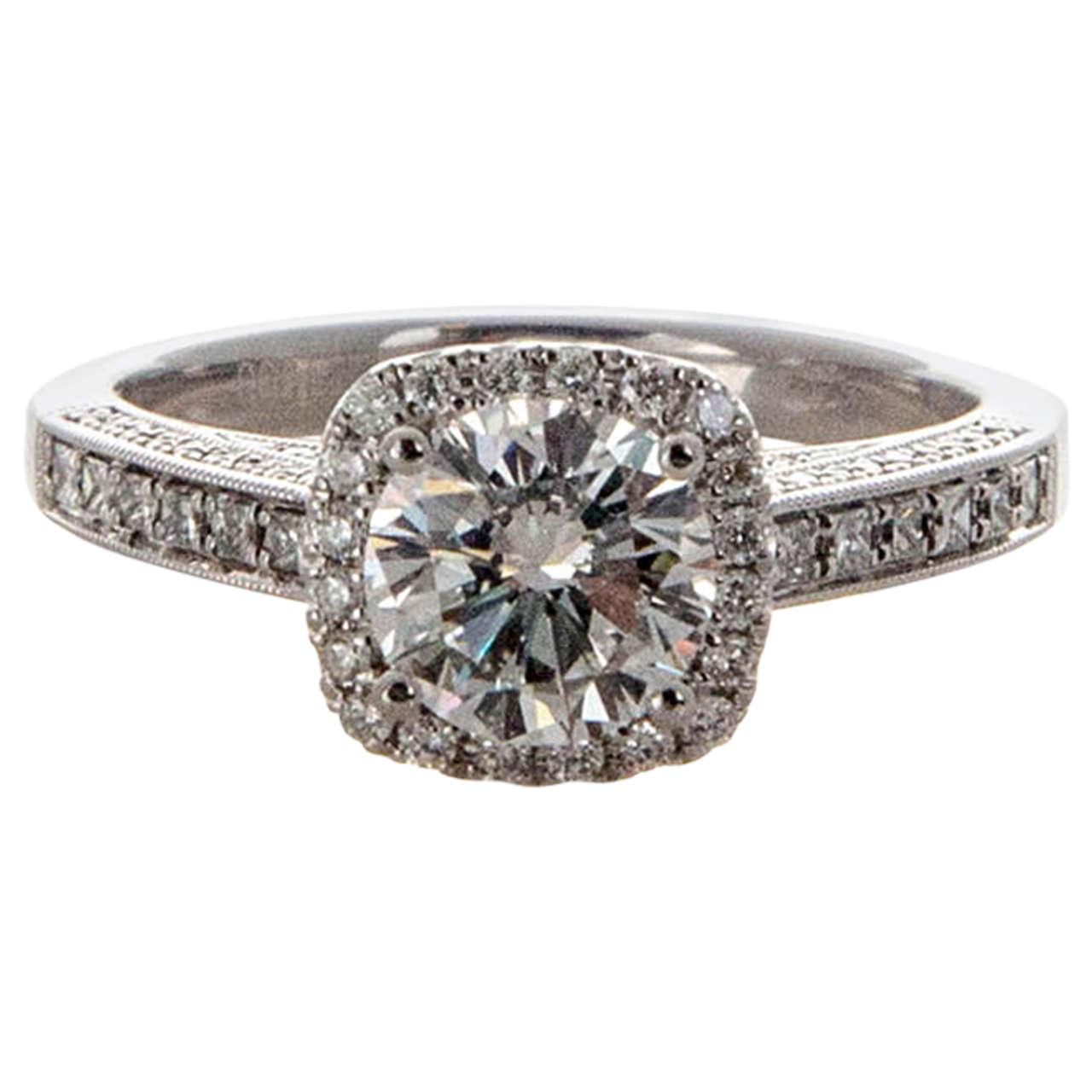 "Image of ""Platinum with 1.14ct Round Diamond Sylvie Cushion Halo Engagement Ring"""