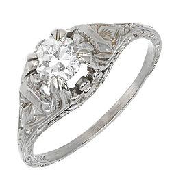 18K White Gold Art Deco 0.40ct Diamond Ring Size 6