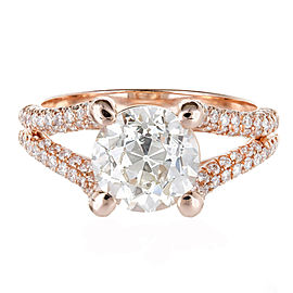 Vintage 18K Rose Gold Transitional cut 2.32ct Diamond Micro Pave Ring Size 6.5