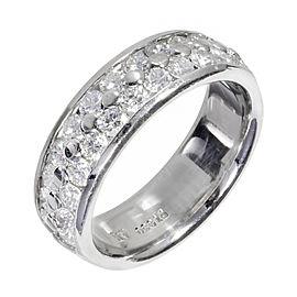 Platinum 1.20ct Diamond Band 2 Row Ring Size 6.5