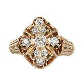 Victorian 14K Yellow Gold Brilliant Cut Diamond Ring Size 6.5