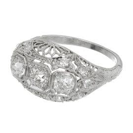 Platinum Diamonds Filigree Dome Ring Size 6.5