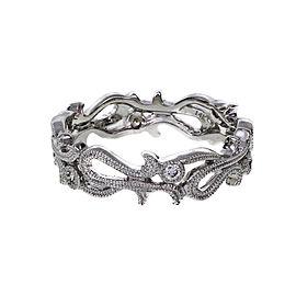 14K White Gold Diamond Beaded Band Ring Size 6.75