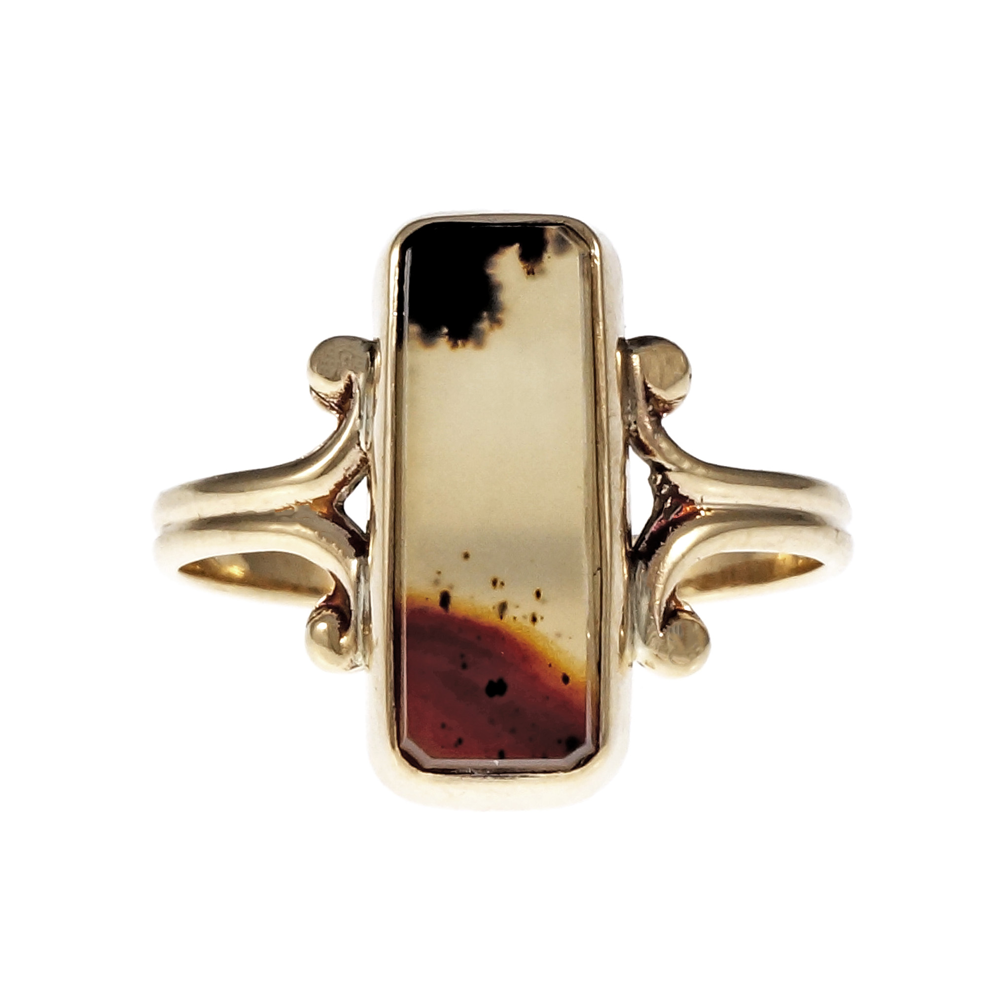 "Image of ""10K Yellow Gold with Agate Ring Size 5.5"""