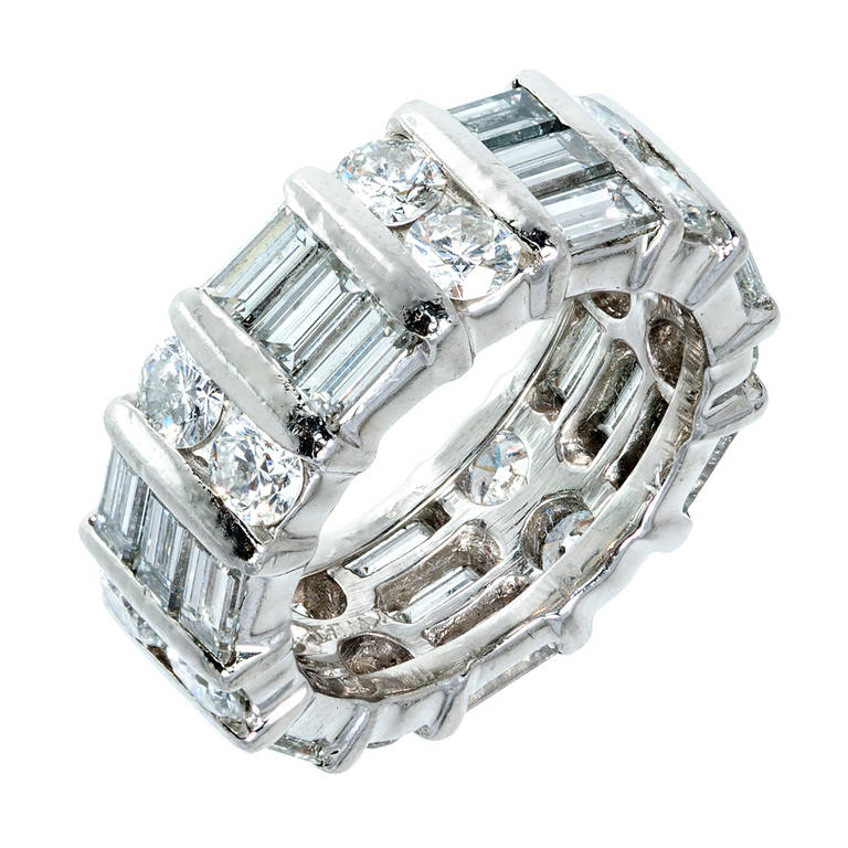 "Image of ""Platinum with 3.50ct Round Baguette Diamond Wedding Band Ring Size 5"""