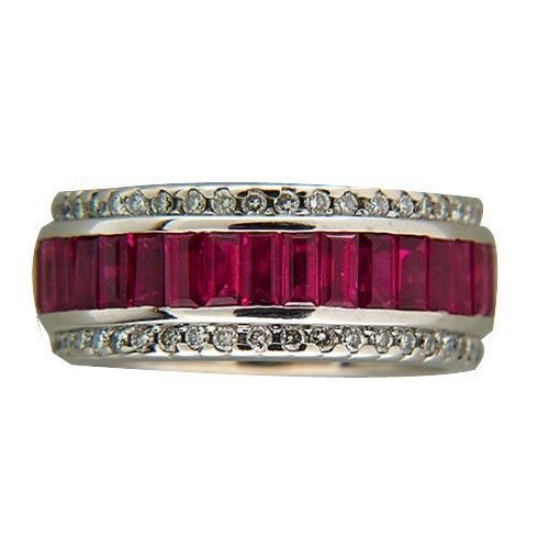 "Image of ""Sonia B Vintage 18K White Gold 6.50ct Bright Red Ruby & 1.00ct Diamond"""