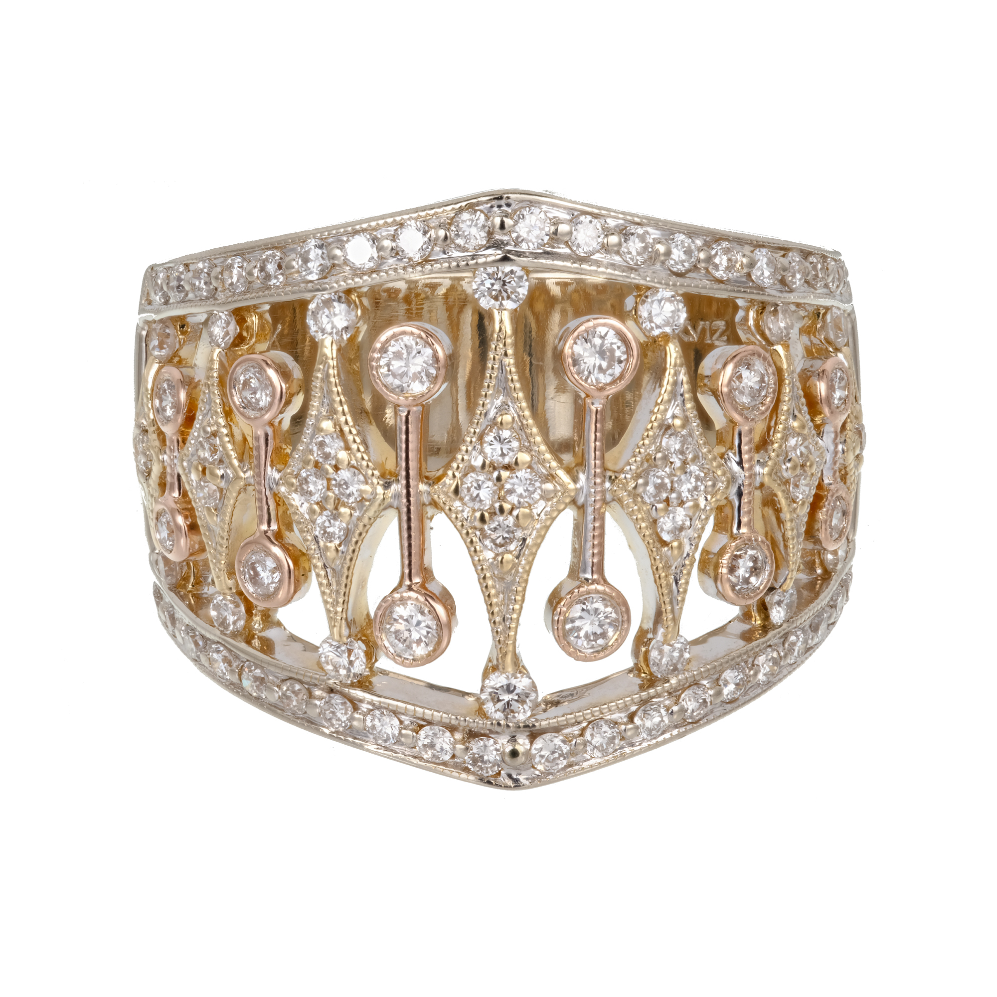 "Image of ""Parviz 18K White, Yellow and Pink Gold 0.70ct Diamond Band Ring Size 7"""