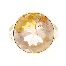 14K Yellow Gold with 17.97ct Citrine with Red Iron & 0.18ct Diamond Ring Size 6