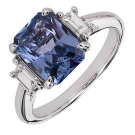 Platinum Diamond and Blue Sapphire Ring Size 5.5