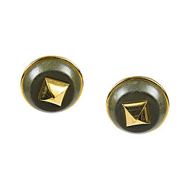Hermes Green Gold Plated & Leather Olive Pyramid Stud Clip On
