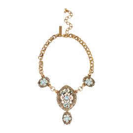 Oscar de la Renta Gold Tone Metal Pink Blue Enamel Faux Pearl Crystal Floral Necklace