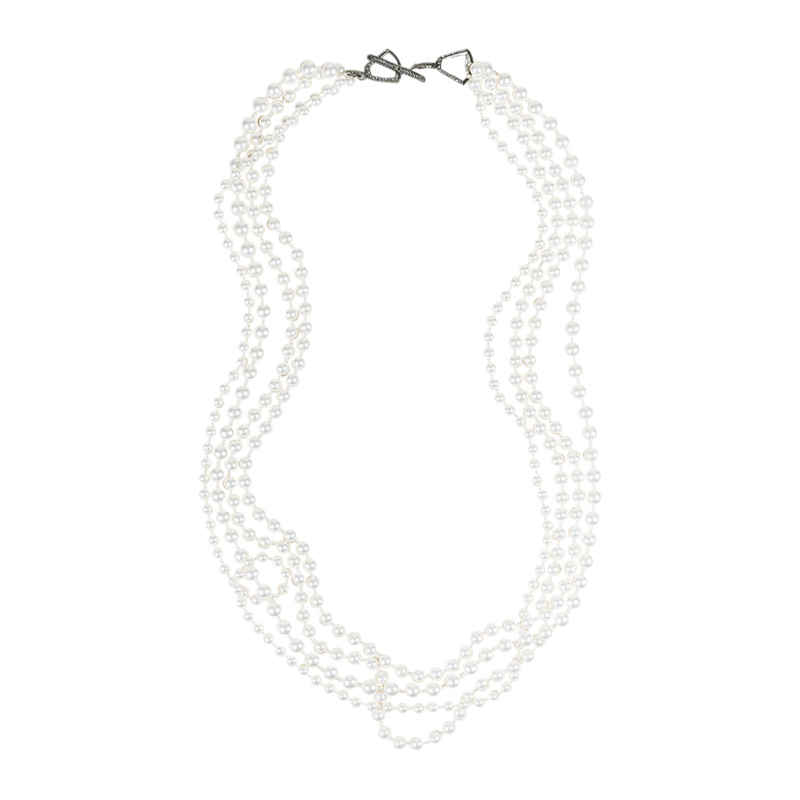 "Image of ""Lanvin Silver Tone Metal White Faux Pearl Multi Strand Necklace"""