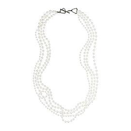 Lanvin Silver Tone Metal White Faux Pearl Multi Strand Necklace