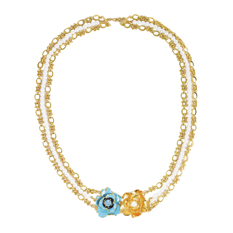 "Image of ""Kenneth Jay Lane Gold Tone Faux Pearl Enamel Floral Multi Strand"""