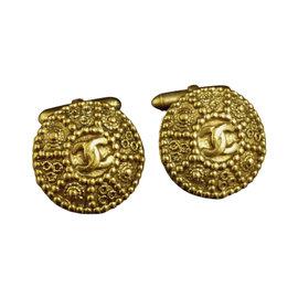 Chanel Gold-Tone Coco Mark CC Logo Cufflinks
