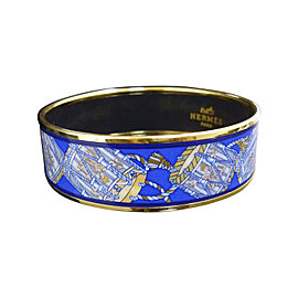 Hermes Gold Tone Metal & Cloisonne Blue Enamel Bangle Bracelet