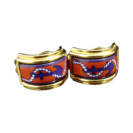 Hermes Gold Tone Metal Cloisonné Clip-On Earrings