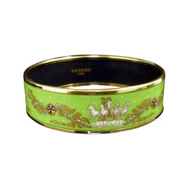 Hermes Gold Tone Metal & Cloisonne Green Enamel Horse Bangle Bracelet