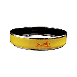 Hermes Silver Tone Metal & Cloisonne Yellow Enamel Bangle Bracelet