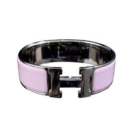 Hermes Silver Tone Metal Enamel Bangle Bracelet