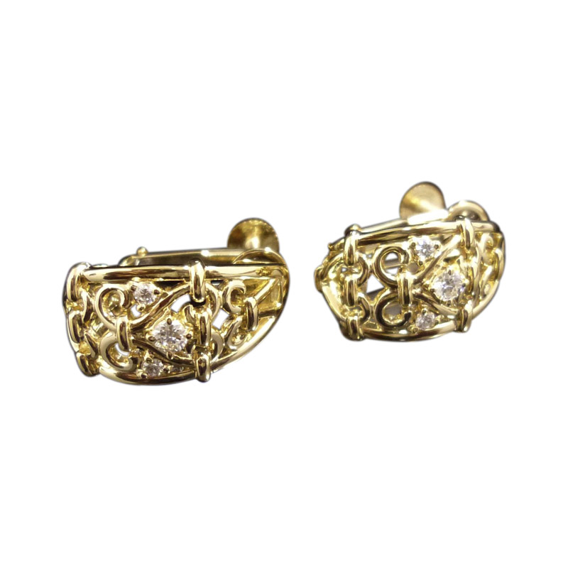 "Image of ""Celine 18K Yellow Gold & 0.11ct Diamonds Clip-On Earrings"""