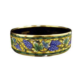 Hermes Gold Tone Metal & Cloisonne Enamel Grape Bangle Bracelet