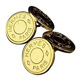 Hermes Gold Tone Serie Clou De Selle Selye Cufflinks