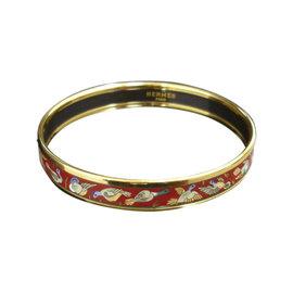 Hermes Gold Tone Metal & Cloisonne Enamel Bird Bangle Bracelet