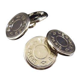 Hermes Silver Tone Serie Clou De Selle Selye Cufflinks