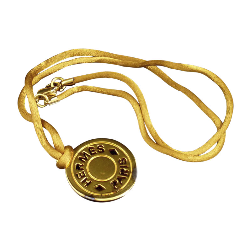 """Image of """"Hermes Gold-Tone Metal Serie Selye Pendant Necklace"""""""