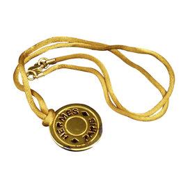 Hermes Gold-Tone Metal Serie Selye Pendant Necklace