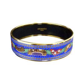 Hermes Gold Tone Metal & Cloisonne, Blue Enamel Bangle Bracelet