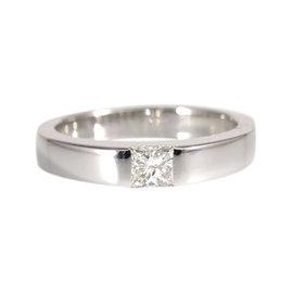 Cartier 18K White Gold 0.25ct Diamond Tank Ring Size 4.5