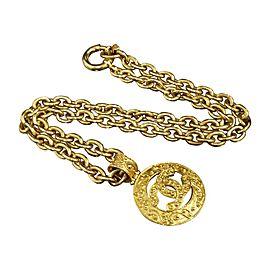 Chanel Gold-Tone Metal Coco Mark CC Logo Pendant Necklace