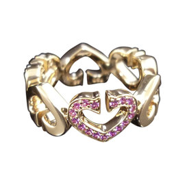 Cartier 18K Rose Gold Pink Sapphire C Heart Ring Size 4.5
