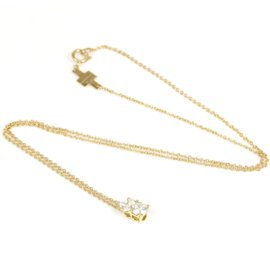 Tiffany & Co. 18K Yellow Gold with 4P Diamond Pendant Necklace
