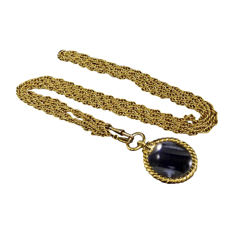 "Image of ""Chanel Coco Mark Gold-Tone Metal Coco Mark Loupe Pendant Necklace"""