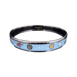 Hermes Silver Tone Metal & Cloisonne, Silver Blue Enamel Bird Bangle Bracelet