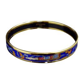 Hermes Gold Tone Metal & Cloisonne Blue Enamel Bangle Bracelet