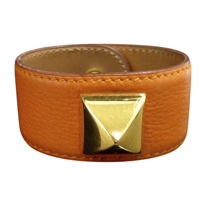 "Image of ""Hermes Medor Gold Tone Metal & Leather Bangle Bracelet"""