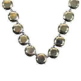 Bottega Veneta Bronze Oxidized Sterling Silver Crystal Necklace