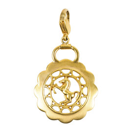 Hermes Brushed Gold Tone Laser Cut Horse Scalloped Charm Pendant